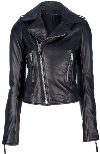 Balenciaga Cropped Leather Jacket - Lyst