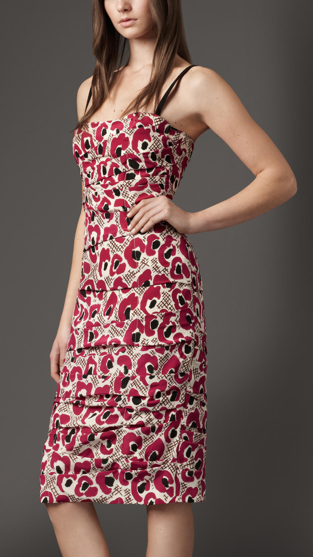 2a4d932006ab8 Lyst - Burberry Animal Floral Print Silk Dress in Red