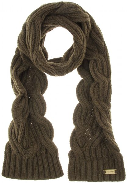 Knitting Pattern Burberry Scarf : Burberry Cable Knit Scarf in Green (khaki) Lyst