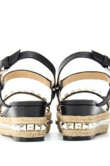 Christian Louboutin Cataclou 60 Studded Espadrille Sandals in Silver - Lyst