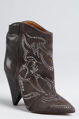 Isabel Marant Slate Leather and Suede Studded Memphis Ankle Boots - Lyst
