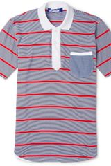 Junya Watanabe Slimfit Striped Cotton-jersey Polo Shirt - Lyst