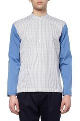 Marni Grandadcollar Contrastsleeve Cotton Shirt in White for Men (blue) - Lyst