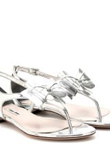 Miu Miu Metallic Leather Sandals - Lyst