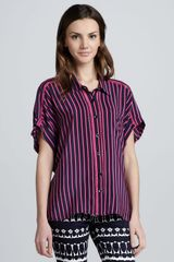 Nanette Lepore Striped Button-Down Blouse - Lyst
