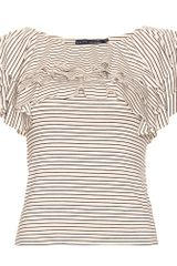 Ralph Lauren Doris Stripe Ruffled Top in White (black) - Lyst