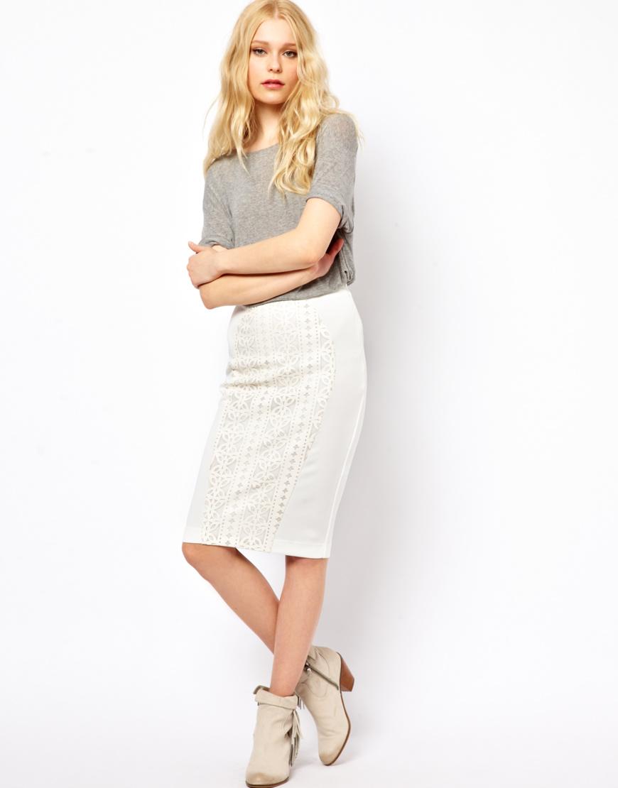 River island Lazer Cut Pencil Skirt in White | Lyst