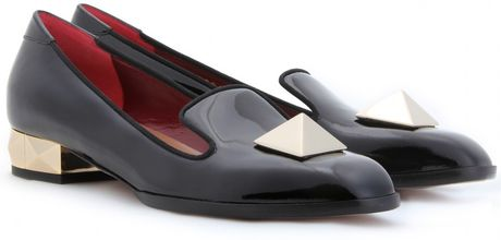 Valentino Rockstud Slipper Style Patent Leather Loafers in Black