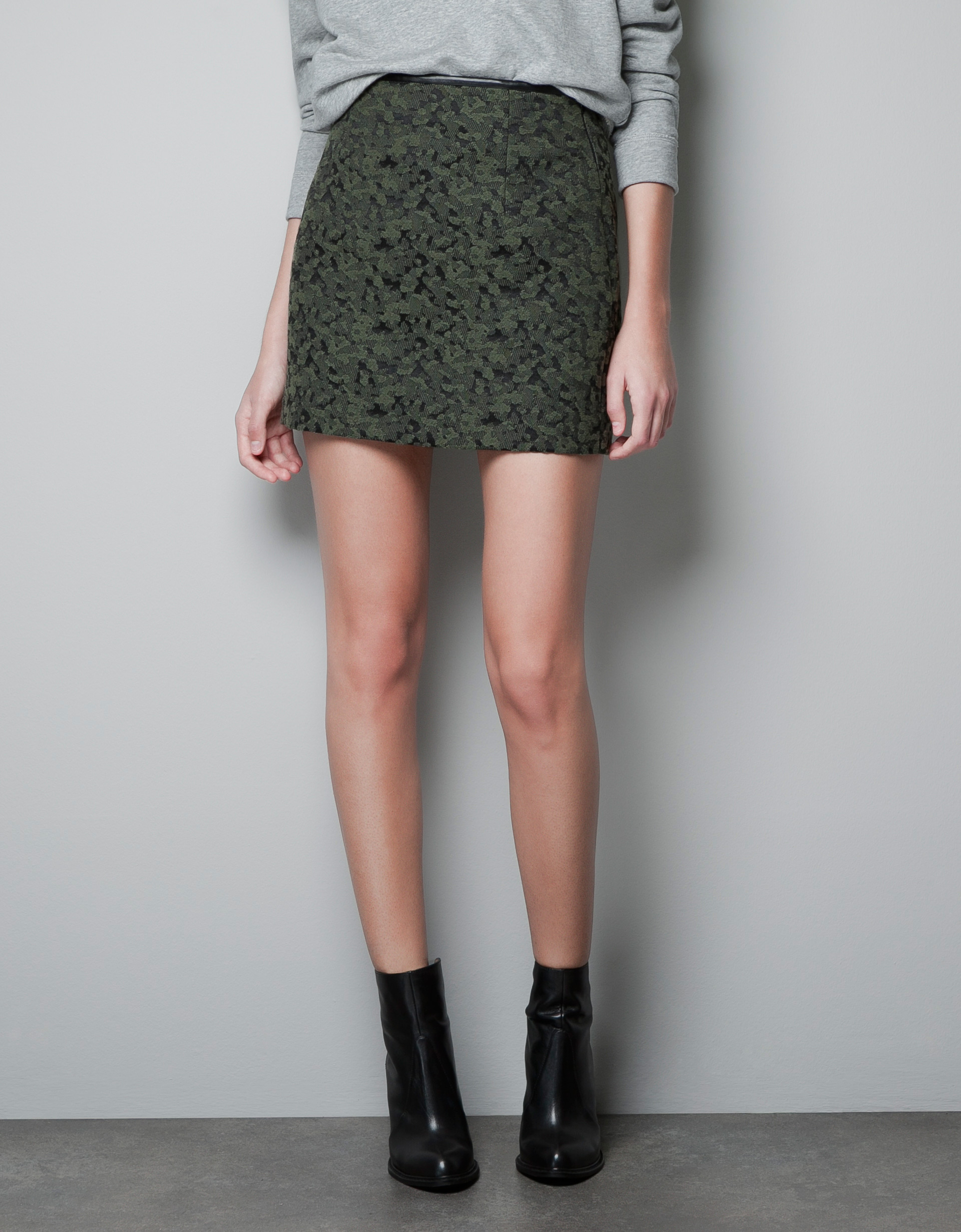 Zara Patterned Mini Skirt in Green | Lyst