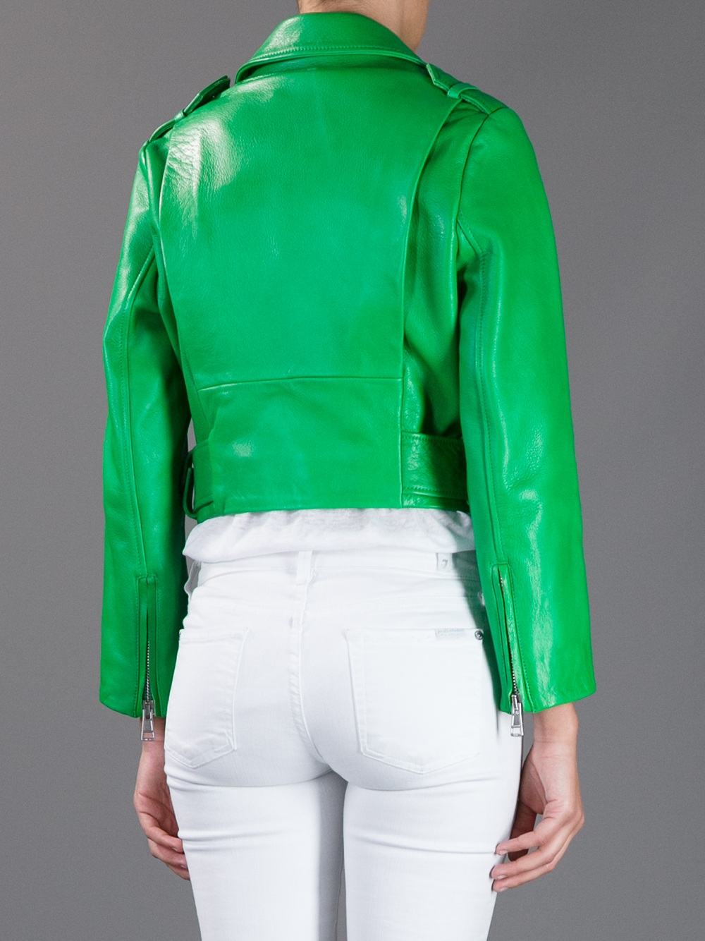 Lyst Acne Studios Cropped Biker Jacket In Green
