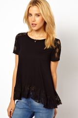 ASOS Collection Asos Trapeze Top with Lace Insert - Lyst