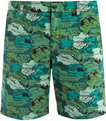 Band Of Outsiders Travel Print Shorts - Lyst