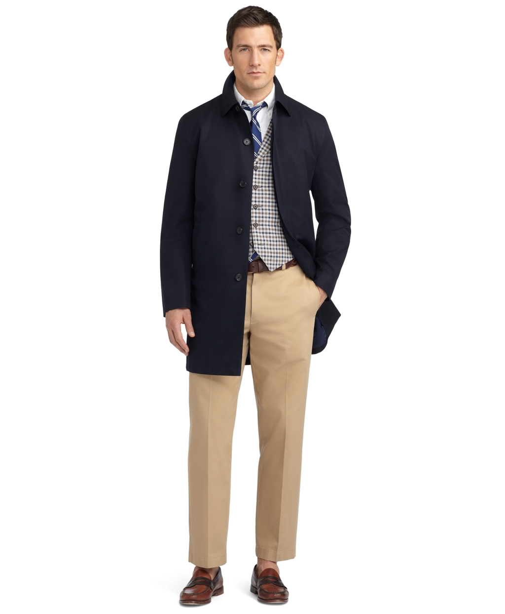 Brooks brothers Brooksstorm® Car Coat Trench in Blue for Men | Lyst