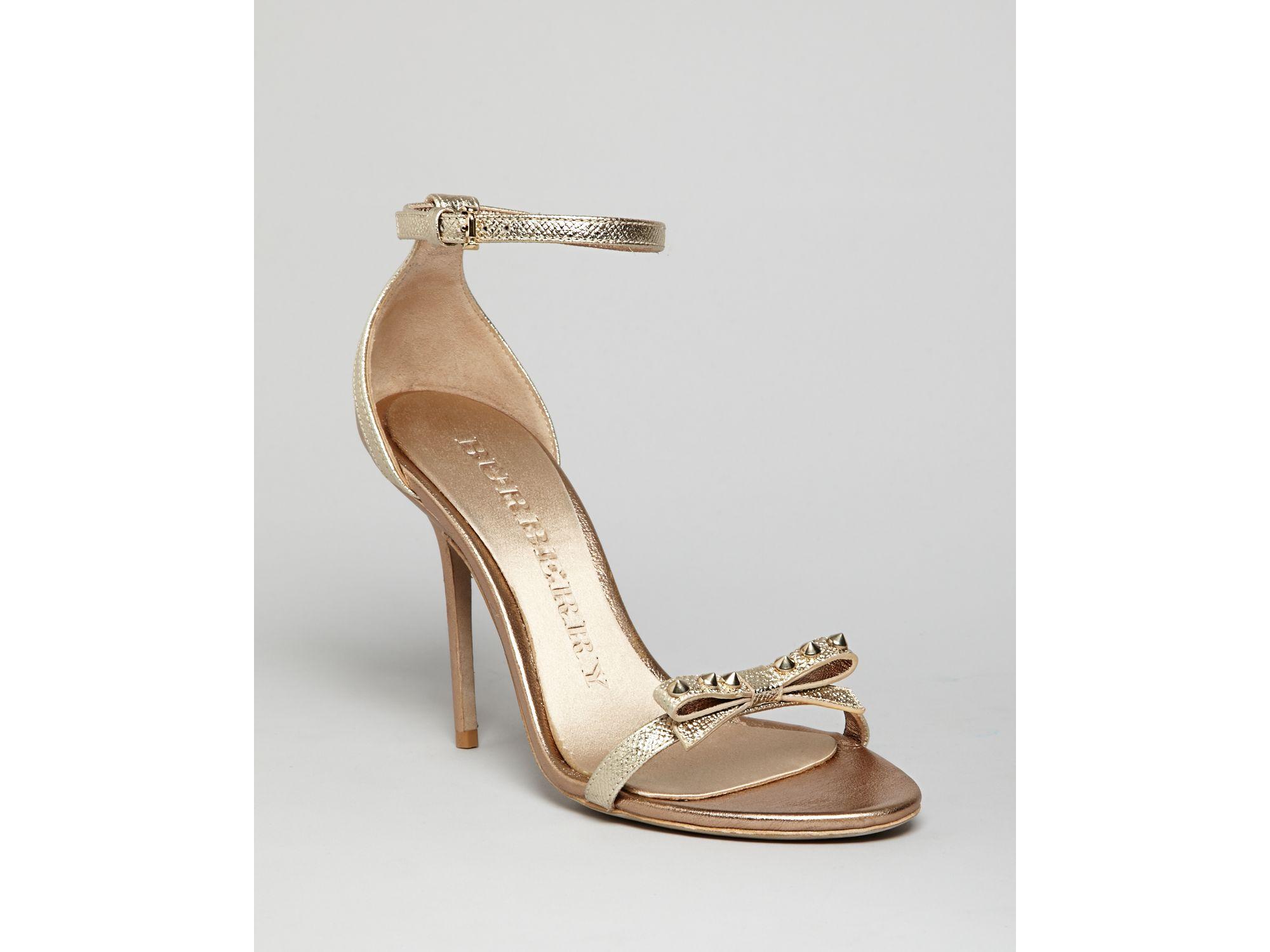 burberry sandals willenmore high heel in gold metallic