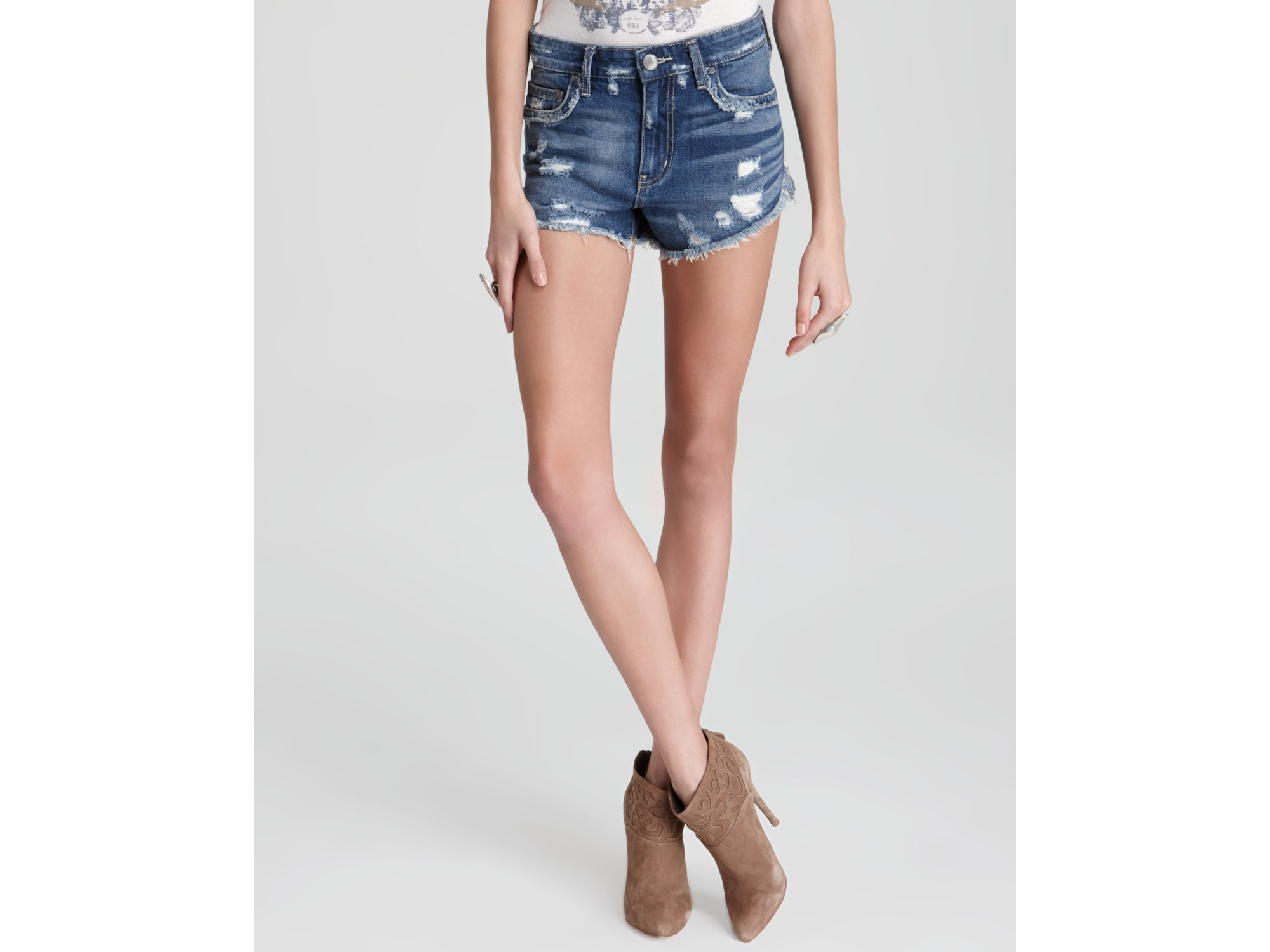 70cca7bde1 Free People Rugged Ripped Denim Shorts in Blue - Lyst