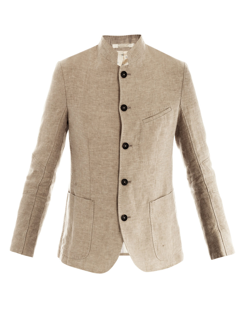 Lyst Massimo Alba Linen Collarless Jacket In Natural For Men