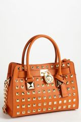 Michael by Michael Kors Hamilton Studded Leather Satchel - Lyst