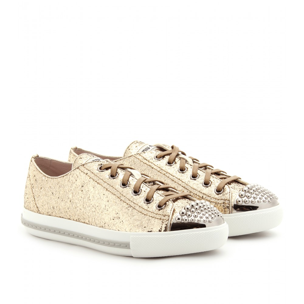 Miu Miu Glitter Low-Top Sneakers for cheap discount official site for sale 3ZD4RnlIG
