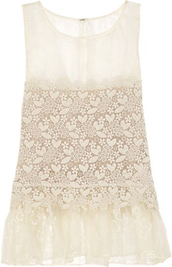 RED Valentino Silk Organza and Macramé Top - Lyst
