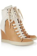 See By Chloé Two Tone Leather and Nubuck Wedge Sneakers - Lyst