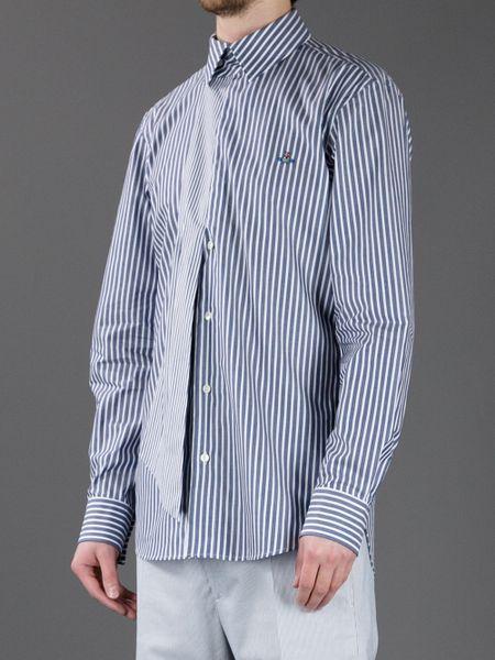 Vivienne westwood striped long sleeve shirt in blue for for Navy blue striped long sleeve shirt
