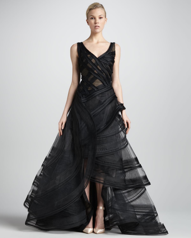 Lyst - Zac Posen Resort Tiered Ruffle Evening Gown in Black