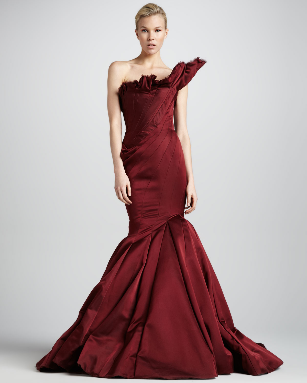 Lyst - Zac Posen Asymmetric Satin Wrap Gown in Red