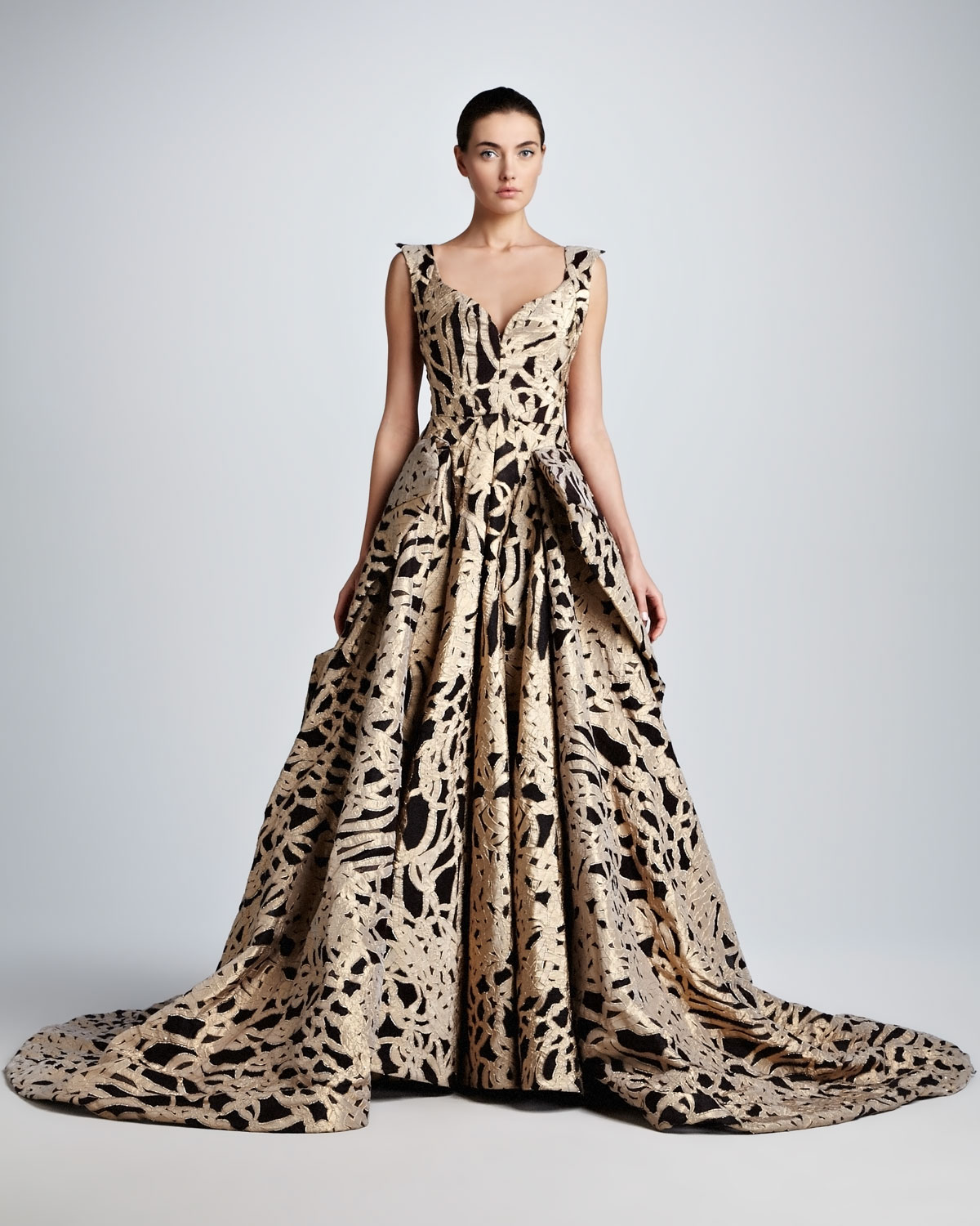 Lyst Zac Posen Brocade Sweetheart Evening Gown In Metallic