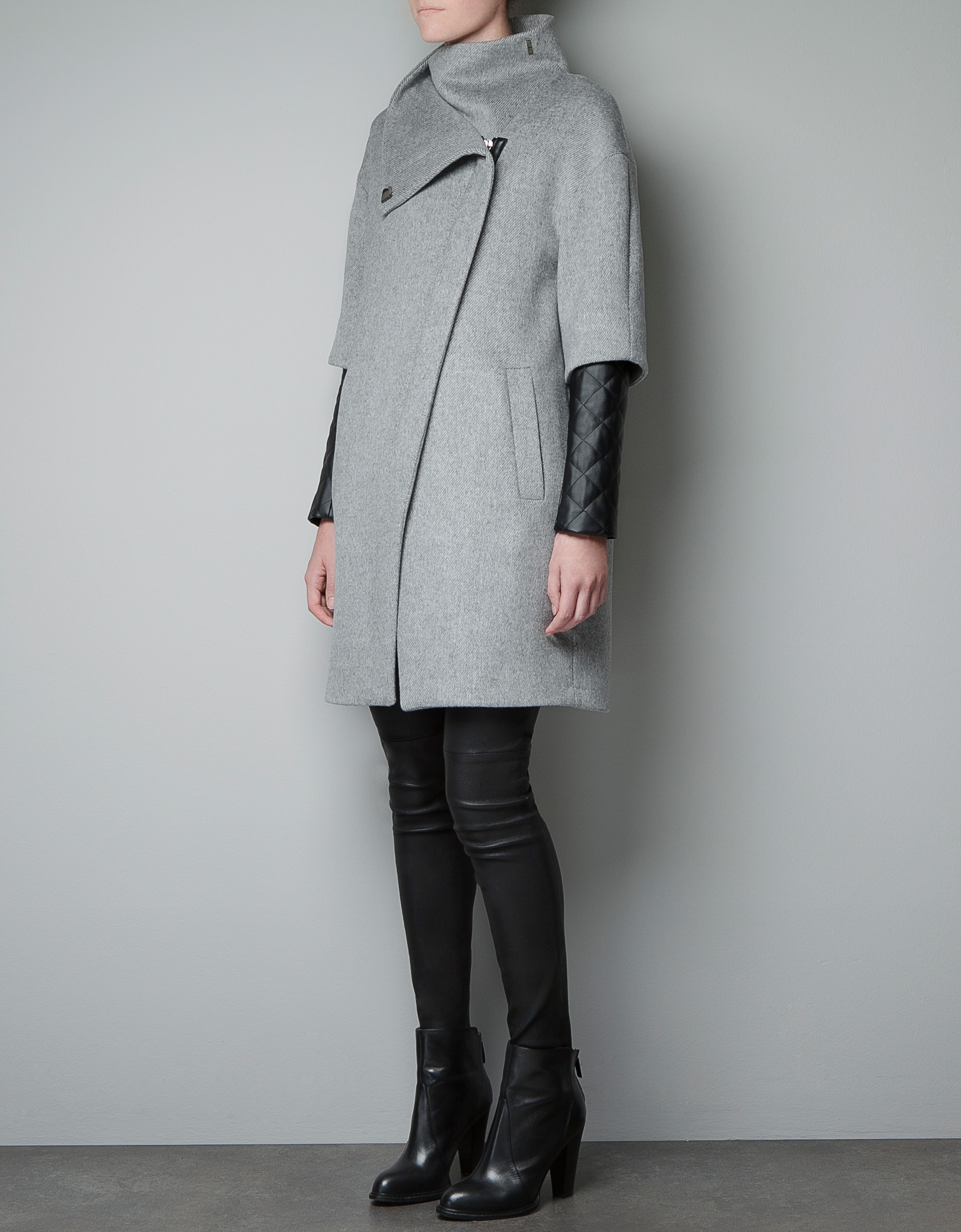 Zara Zip Coat With Quilted Faux Leather Sleeves In Gray Lyst