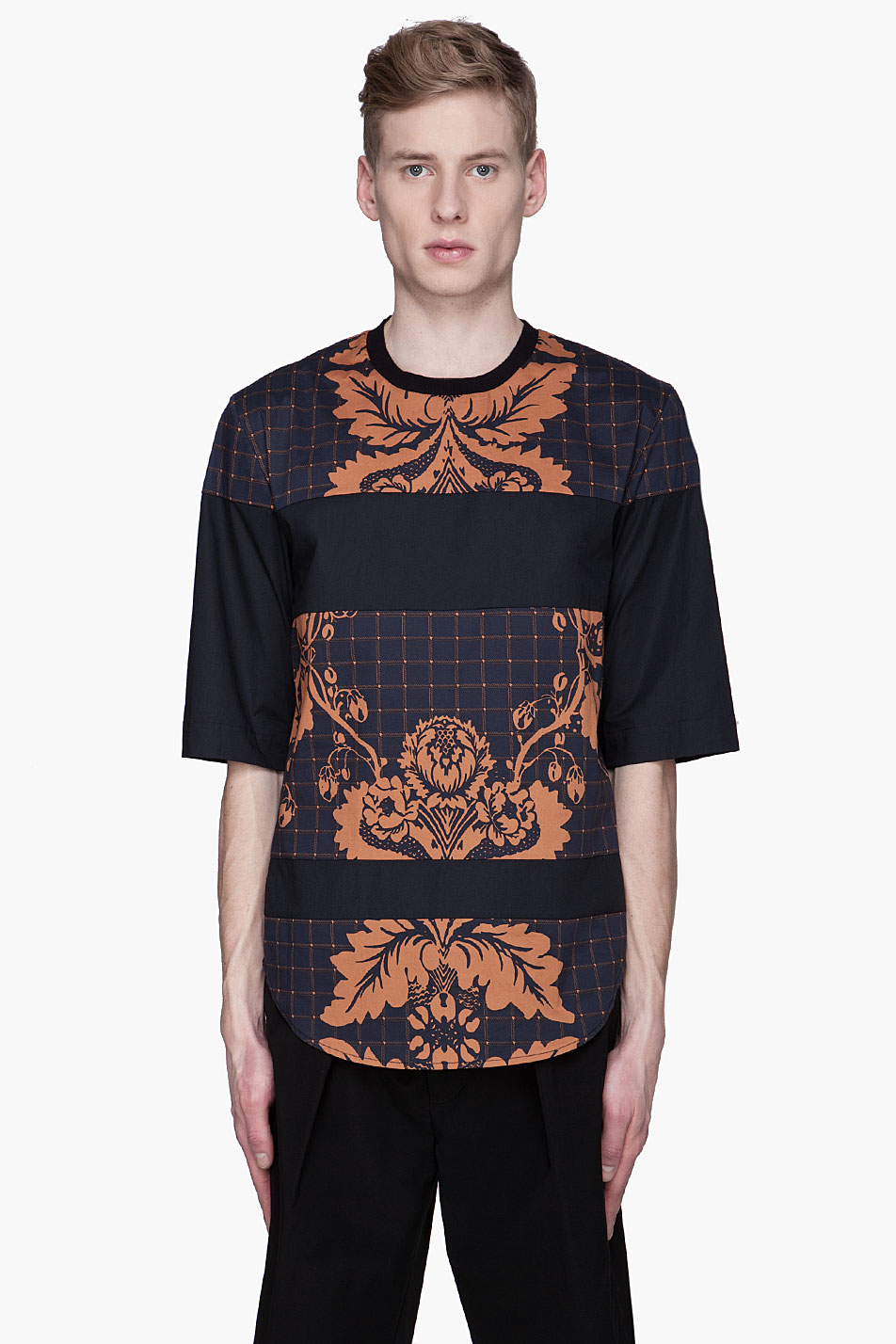 3 1 phillip lim navy floral paneled oversize t shirt in
