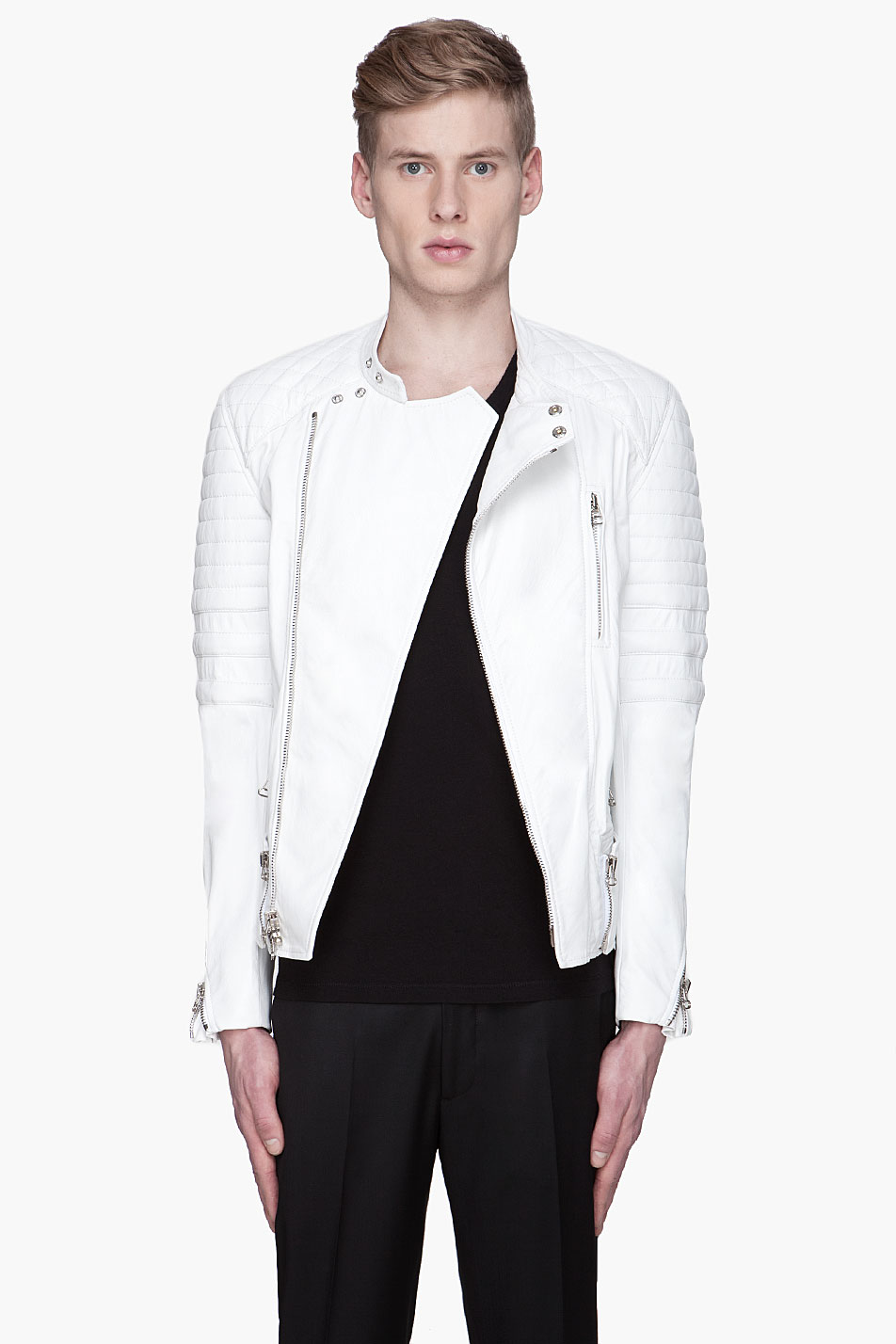 White Leather Motorcycle Jacket Mens | galleryhip.com - The