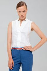 Akris Sleeveless Notched Collar Blouse - Lyst