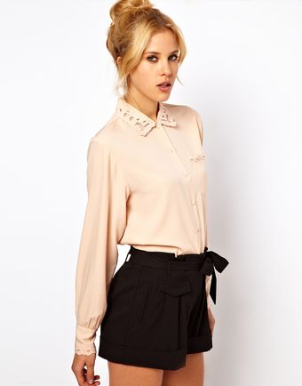 ASOS Collection Asos Blouse with Pretty Cutwork and Embroidery - Lyst