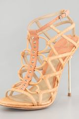 B Brian Atwood Mirante Studded Stretch Cage Sandal Orange - Lyst