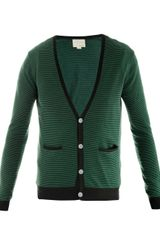 Band Of Outsiders Stripe Knit Cardigan - Lyst