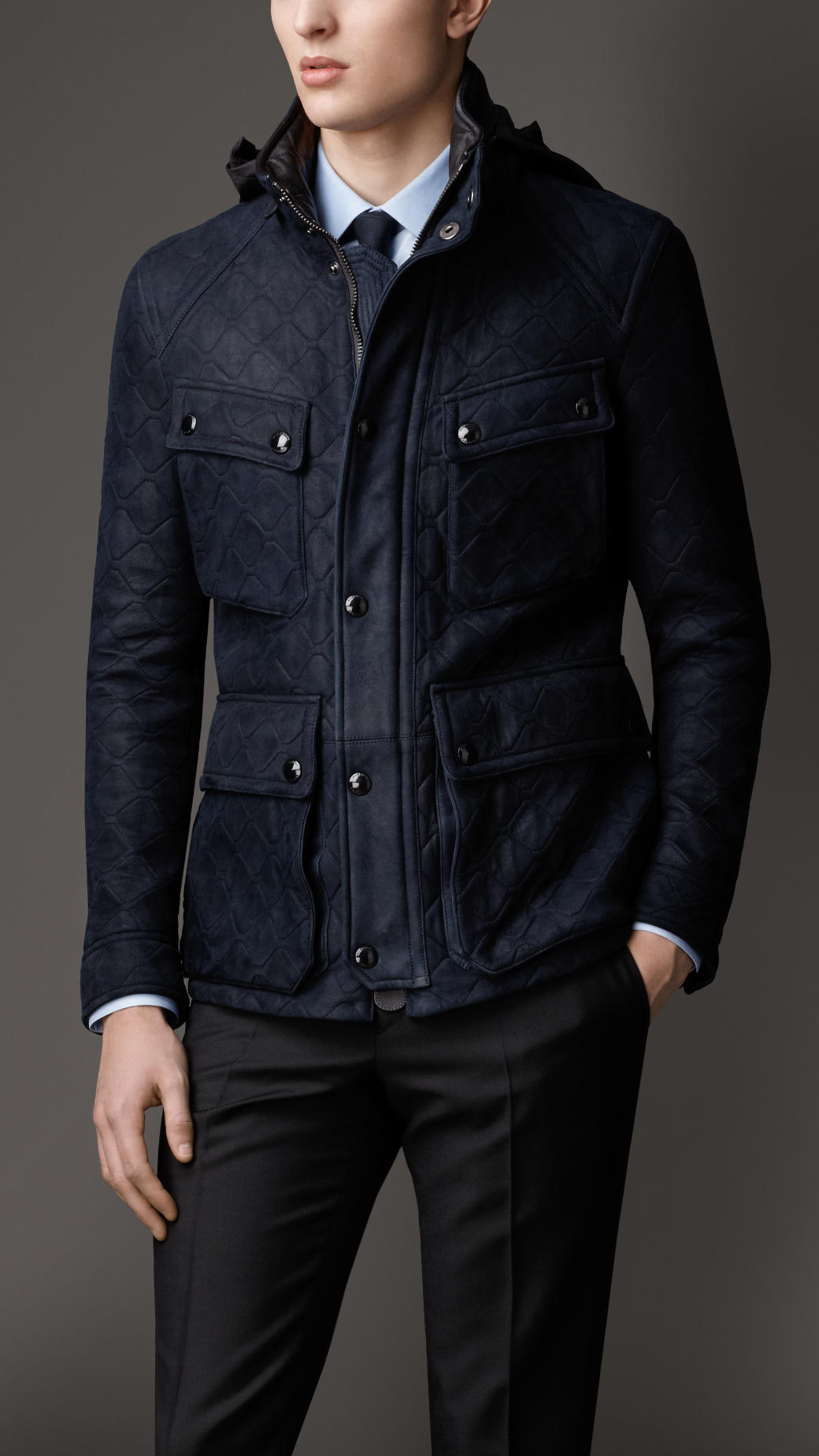 Lyst Burberry Quilted Suede Field Jacket In Blue For Men