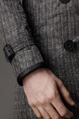 Burberry Midlength Herringbone Trench Coat with Leather Trim in Gray for Men (nickel) - Lyst