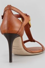 Burberry Bridledetail Leather Tstrap Sandal in Brown (tan) - Lyst