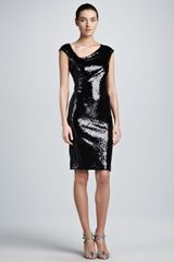Donna Karan New York Sequined Capsleeve Dress - Lyst