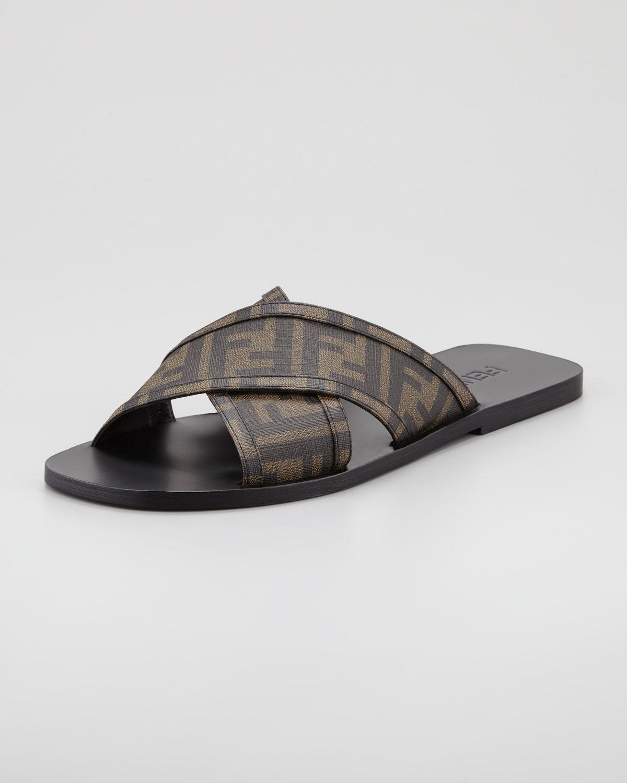Lyst Fendi Logo Slide Sandal In Brown For Men