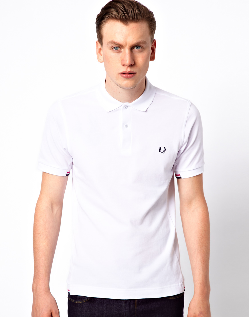 fred perry polo with insert rib in white for men lyst. Black Bedroom Furniture Sets. Home Design Ideas