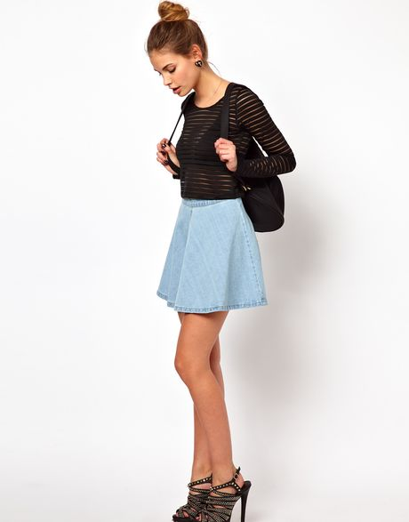glamorous circle skirt in light wash denim in blue