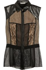 Jason Wu Leathertrimmed Lace and Tulle Top - Lyst