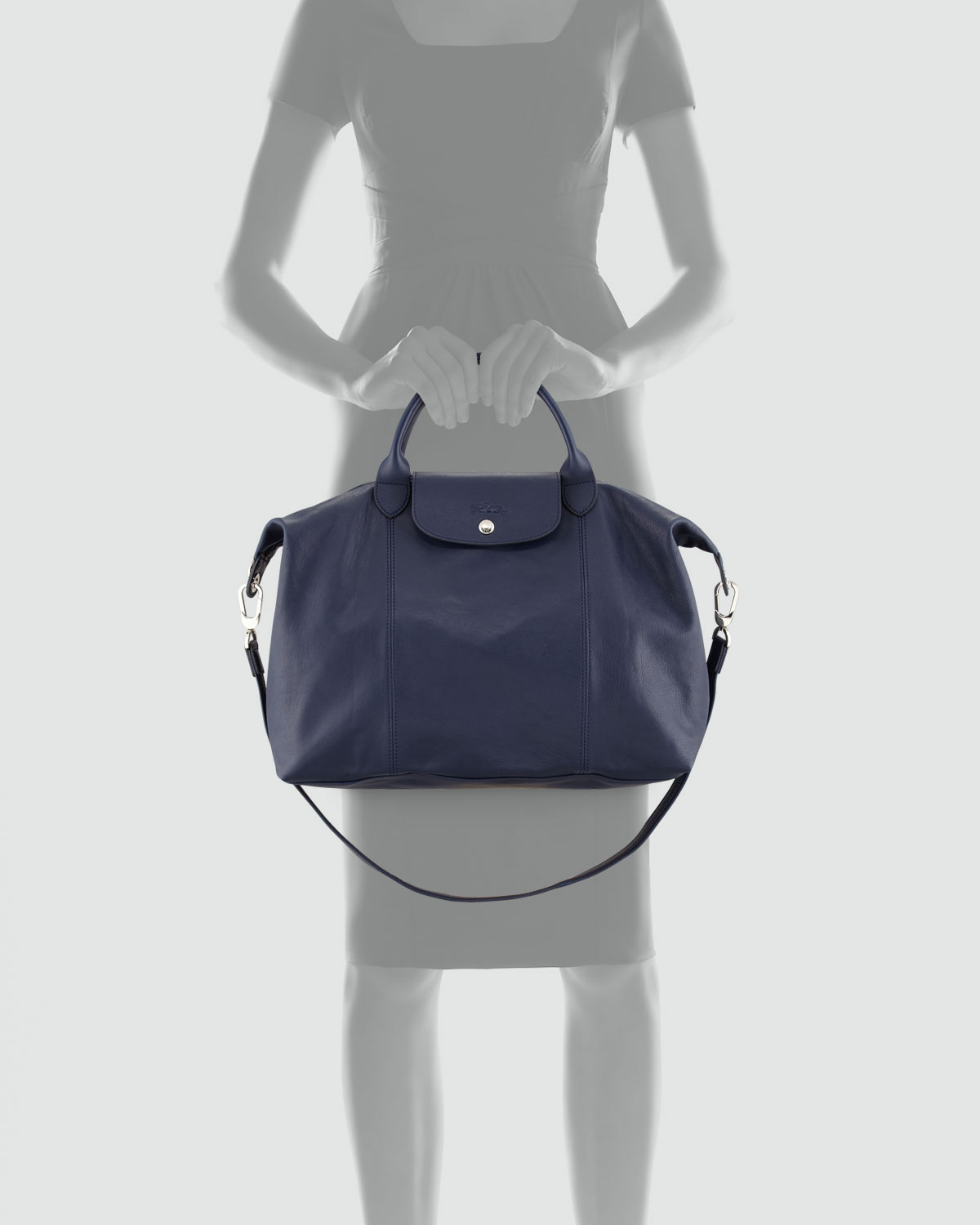longchamp le pliage cuir large tote bag in blue