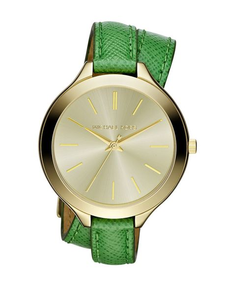 Michael Kors Midsize Slim Snakeembossed Leather Runway Watch in Green (gold/green)