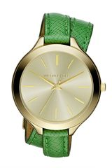 Michael Kors Midsize Slim Snakeembossed Leather Runway Watch in Green (gold/green) - Lyst