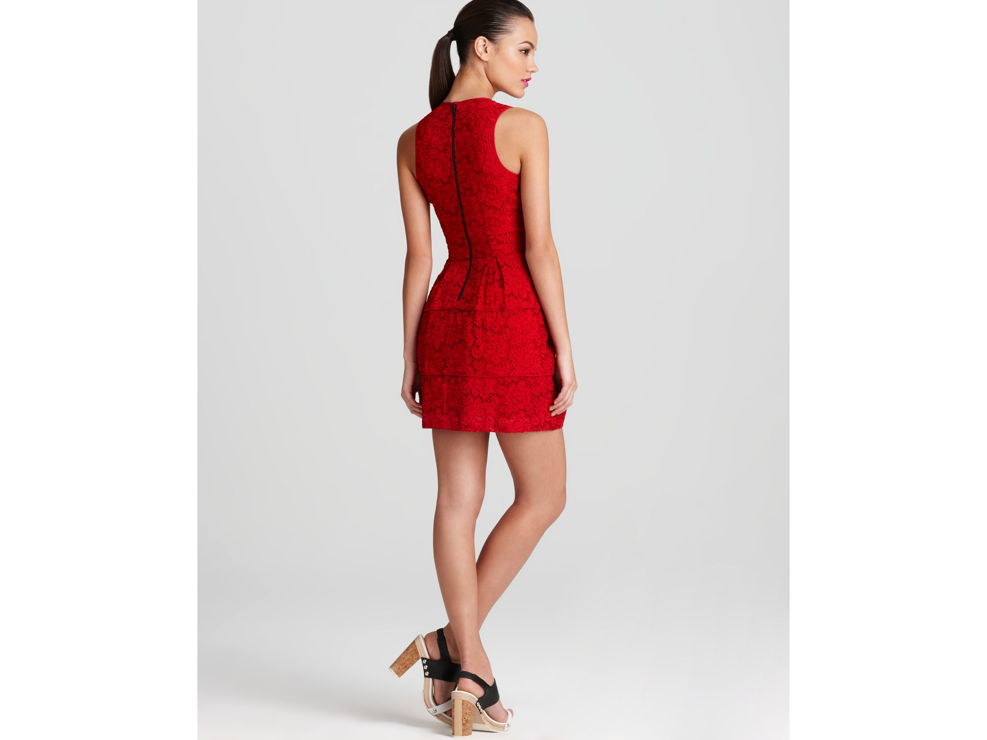 Nanette lepore Lace Dress Treasure in Red | Lyst