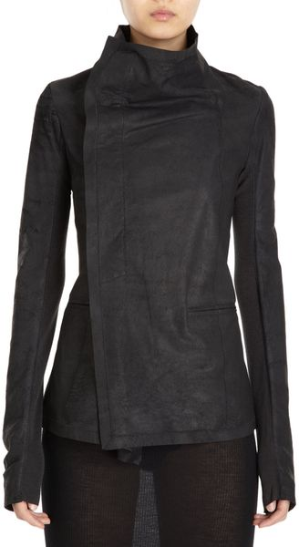 Rick Owens Leather Asymmetrical Jacket - Lyst
