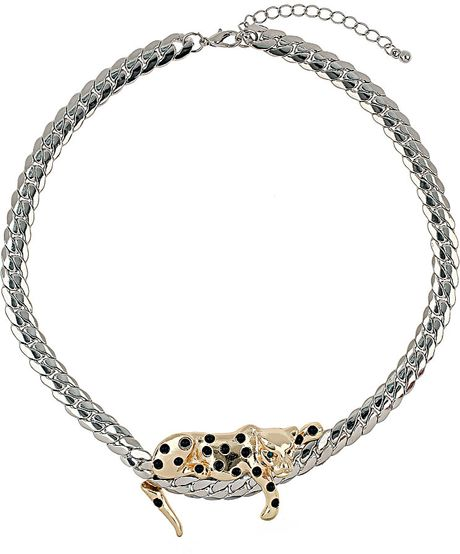 Topshop Tiger Collar in Silver (mixed metal)