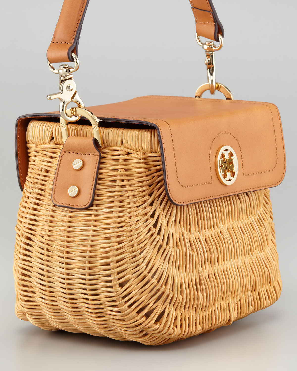 Wicker Basket Backpack : Lyst tory burch lacquered rattan basket bag in brown